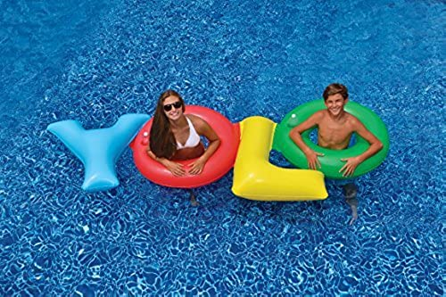 109 Multi-ColGoldt YOLO Inflatable Novelty Swimming Pool Float by Swim Central