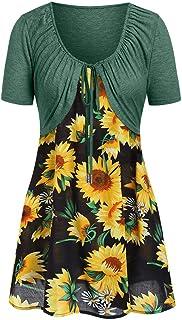 New in Respctful✿ Women's Boho Dress Casual Sunflower Print Maxis Dress with Bow Knot Kimonos Spaghetti Strap Dress
