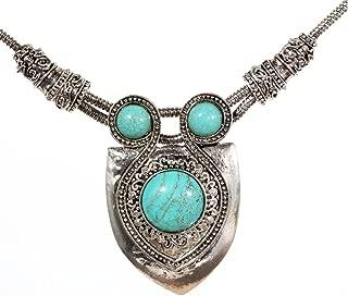 ARGENT éléphant Collier filigrane pendentif charme turquoise perles boho argent