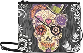 Portfolio Canvas Decor Sugar Skull Daisy By Geoff Pattern Custom High-grade Nylon Slim Clutch Bag Cross-body Bag Shoulder Bag