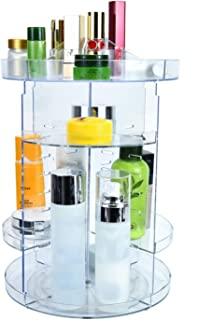 Pomeat Rotating Makeup Organizer, 360 Degree Rotating Adjustable Acrylic Cosmetic Storage for Make up, Brushes, Perfume, Cosmetics and Lipsticks