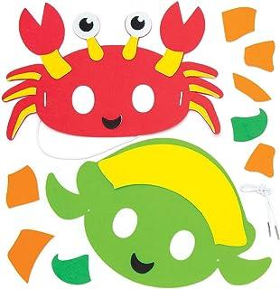 Baker Ross- Kits de caretas de espuma de animales marinos (Pack de 4) - Actividad de manualidades infantiles para montar y llevar con un disfraz