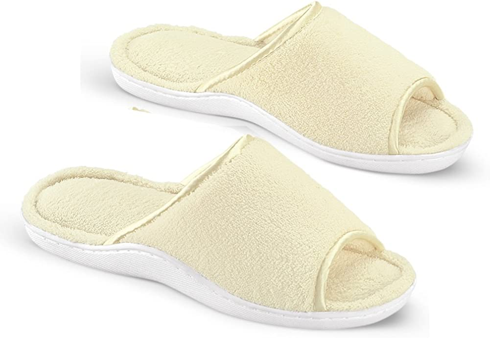 Collections Etc Cushioned Open Toe Terry Slide House Slippers w/Satin Trim