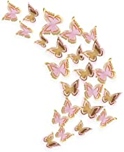 pinkblume Gold and Pink Butterfly Decorations Stickers 3D Butterfies Wall Decor DIY Home Decorations Removable Wall Decals...