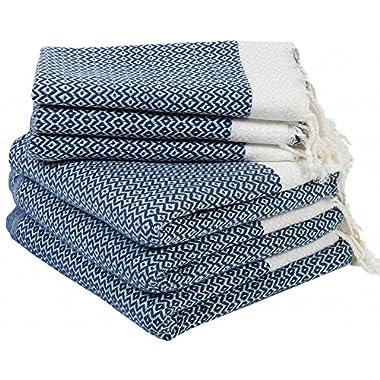 Set of 6 Turkish Cotton Bath Beach Spa Sauna Hammam Yoga Gym Hamam Hand Towel Fouta Peshtemal Pestemal Blanket - 6 Navy