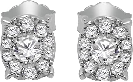 Solid 10K White Gold Round Cut Real Diamond Halo Stud Earrings For Women (0.26 Ct, Clarity-I2,Color-J)