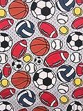 Jersey Stoff Kinderstoff Ball Fußball grau Breite 150 cm