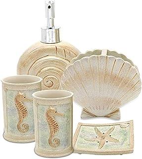 Creative Scents 5 Piece Bathroom Accessory Set, Hotsan Beach Seashells Ensemble Set Includs Soap Dispenser, Soap Dish, Tum...
