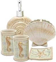 Creative Scents 5 Piece Bathroom Accessory Set, Hotsan Beach Seashells Ensemble Set Includs Soap Dispenser, Soap Dish, Tum...