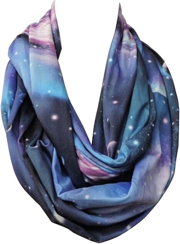 New Fashion Women Blue Rayon Galaxy Space Print Loop Circle Infinity Scarf