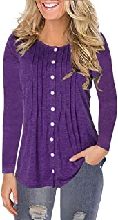 Howely Women Button Down T-Shirt Loose Blouse Tunic Pullover Tops