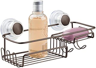 mDesign Suction Bathroom Shower Caddy Basket for Shampoo, Conditioner, Soap - Bronze
