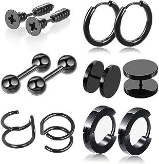 XIALV 6 Pairs Stylish Stainless Steel Stud Earrings Set for Men Women Cartilage Embracing Helix Hoop Ear Piercing Jewelry