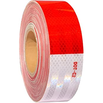 Cococart DOT-C2 2 X 10 White Red Conspicuity DOT Reflective Safety Warning Tape Film Sticker Roll Strip