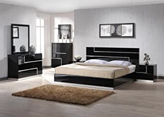 J&M Furniture Lucca Black Lacquer With Crystal Accents Queen Size Bedroom Set