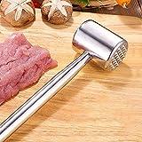 BBTWO Batticarne doppio in acciaio inox 304, martello da carne per piastrellare la carne e rendere più morbida la carne, per intagliare, martellare la carne, lavabile in lavastoviglie