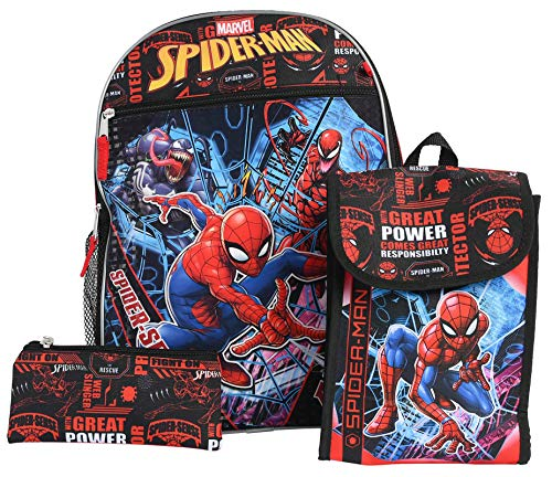 Marvel Spider-Man 16' Backpack Lunch Bag Pencil Case 3-Piece Set