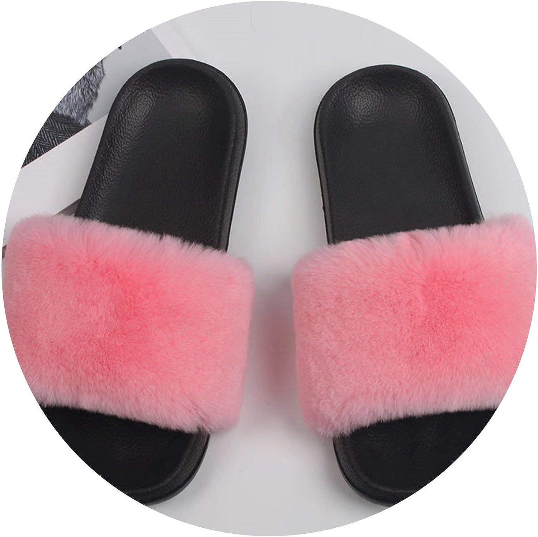 Rex Rabbit Fur Slippers Women Indoor Flat Non-Slip Casual Home Outdoor Sandals Lady Plus Size