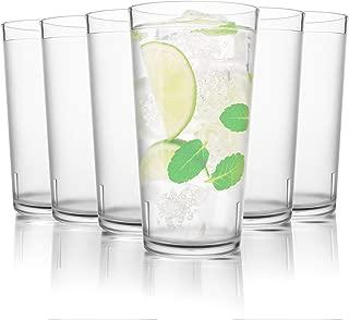 PEYOU Vasos Agua Cristal de Plástico Duro, Juego de 6, 48 cl Vasos de Agua, Vasos Acrílico Transparentes, Copas para Whisky, Té, Café y Leche etc.
