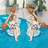 Bling 2 pcs Paquete Flotante Inflable Agua Juguetes aireado Divertida Batalla de Pelo, Cama Flotante Piscina Tumbona Gigante flotadores Transferencia del Barco Balsa para Fiesta en la Piscina,2 White