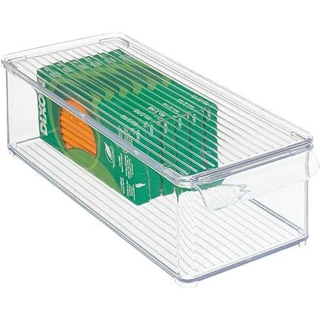 mDesign Juego de 2 cajas clasificadoras con asas para ba/ño Caja para medicamentos apilable con 7 compartimentos para guardar tiritas o aceites crema Organizador de ba/ño de pl/ástico sin BPA
