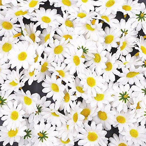 JZK® 100 x Artificial margaritas flores cabezas para fiesta bodas mesa dispersa...