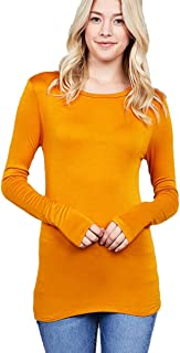 Ladies Fashion Long Sleeve Crew Neck Soft Layering Slim Fitted Basic Top