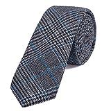 DonDon Corbata estrecha de algodón para hombres de 6 cm - gris azul a cuadros