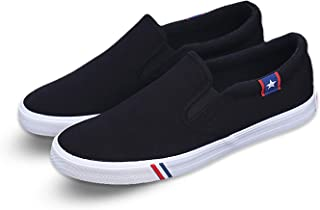 Kakkkchi Canvas Slip-on Loafers Shoes for Men Women Flat Boat Leisure Shoes Unisex Clean Cut Loafer