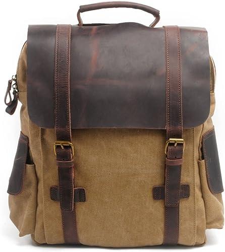 En cuir vintage Toile Sac à dos Sac de voyage Sac à dos pour ordinateur portable pour les étudiants marron