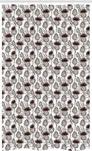 ABAKUHAUS Distel Schmaler Duschvorhang, Schattenbild-Muster, Badezimmer Deko Set aus Stoff mit Haken, 120 x 180 cm, Weiß & Braun