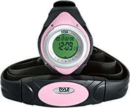 Pyle Fitness Tracker Watch with Heart Rate Monitor, Healthy Wristband Sports Pedometer Activity Tracker Steps Counter Stop Watch Alarm Water Resistant - with Calorie Counter and Target Zones (Pink)