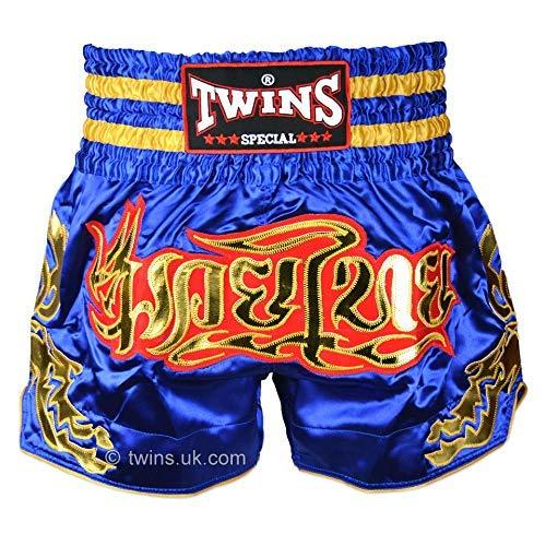 Twins Muay Thai Calzones TWS-152 Azul Oro Boxeo Tailandés