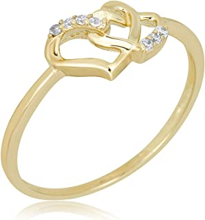 10K Yellow Gold Double Heart Ring with Simulated Diamond CZ
