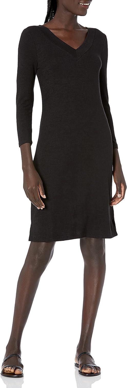 Amazon Brand - Daily Ritual Women's Cozy Knit 3/4-Sleeve V-Neck Dress
