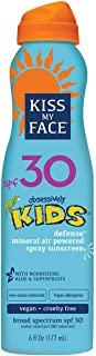Kiss My Face Kids Defense Mineral Continuous Spray Natural Sunscreen SPF 30 Sunblock, 6 oz