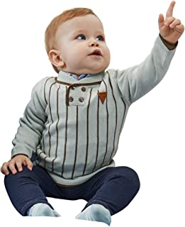 Babay Boy Pullover Sweater Special Polo Neck Simple Stripe Color 100% Combed Cotton Good Indoor Outdoor Wear