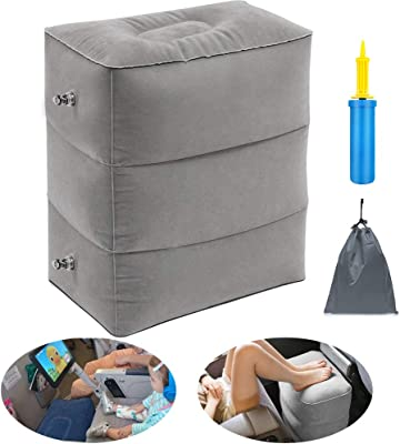 Inflatable Travel Foot Rest Pillow Portable Adjustable Three Layers Height Foot Stool for Airplanes, Cars, Home, Trains, Office to Lay Down or Sleep on Long Flights with Pump … (Grey)