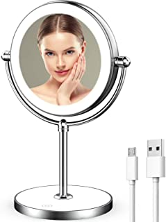 LVYOUIF Rechargeable Lighted Makeup Mirror with Dimmable Lights 7X Magnifying Mirror Double Sided Portable Magnified Mirro...
