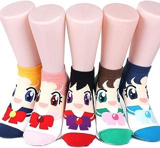 Sailor Moon Calcetines para mujer, 6 pares (6 colores) = 1 paquete fabricado en Corea