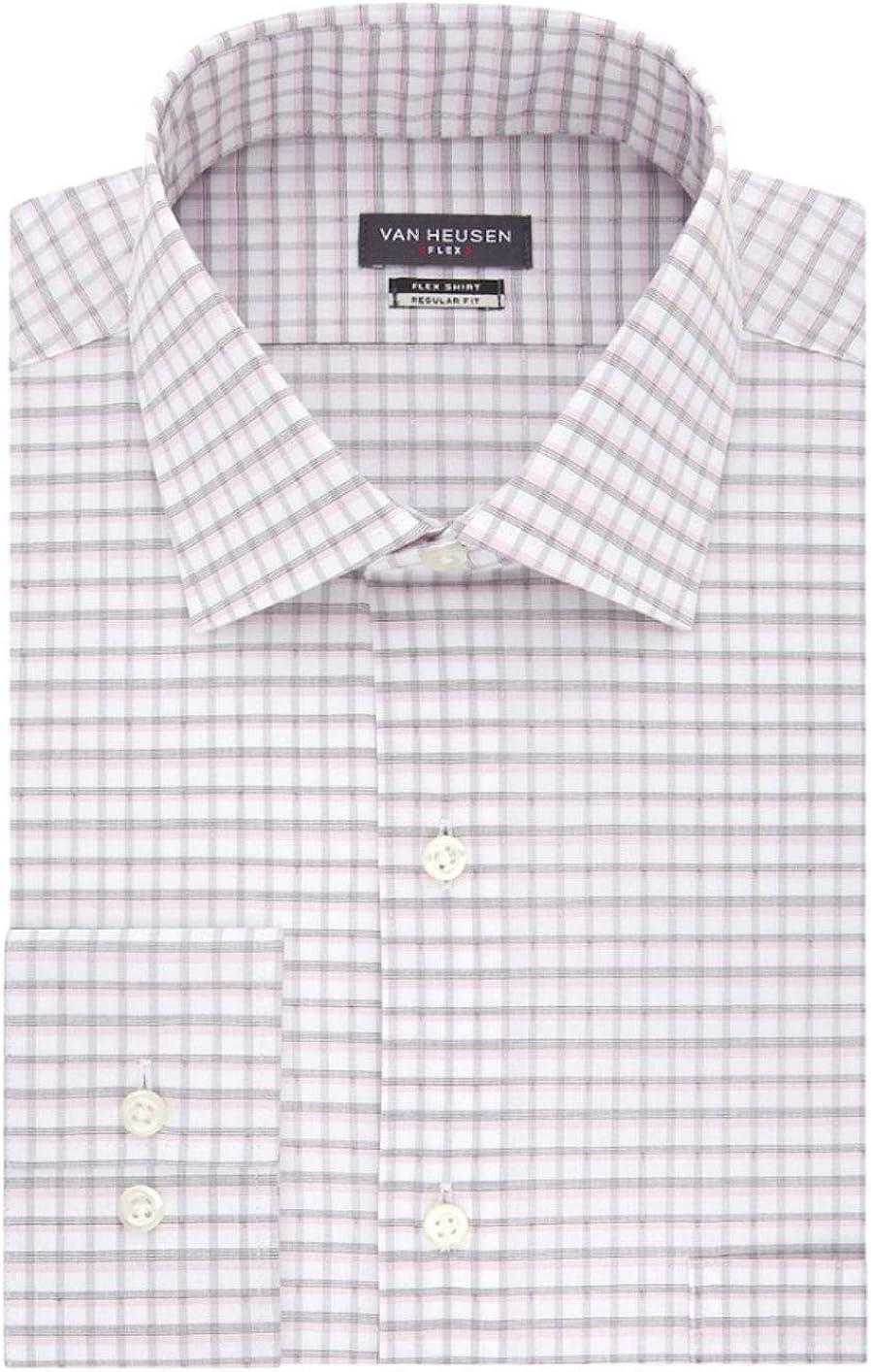 Van Heusen Men's Flex Collar Regular-Fit Stretch Dress Shirt (Pink Multi, Neck 15.5 Sleeve 32-33)