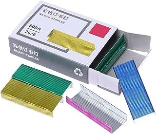 YOURPAI agrafes en métal, 800 pièces/boîte 12mm agrafes en métal colorées créatives Fournitures de Reliure d'école de Bureau