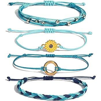 Sunflower String Bracelet Handmade Braided Rope Charms Boho Surfer Bracelet Anklet Waterproof String for Teen Girls Women