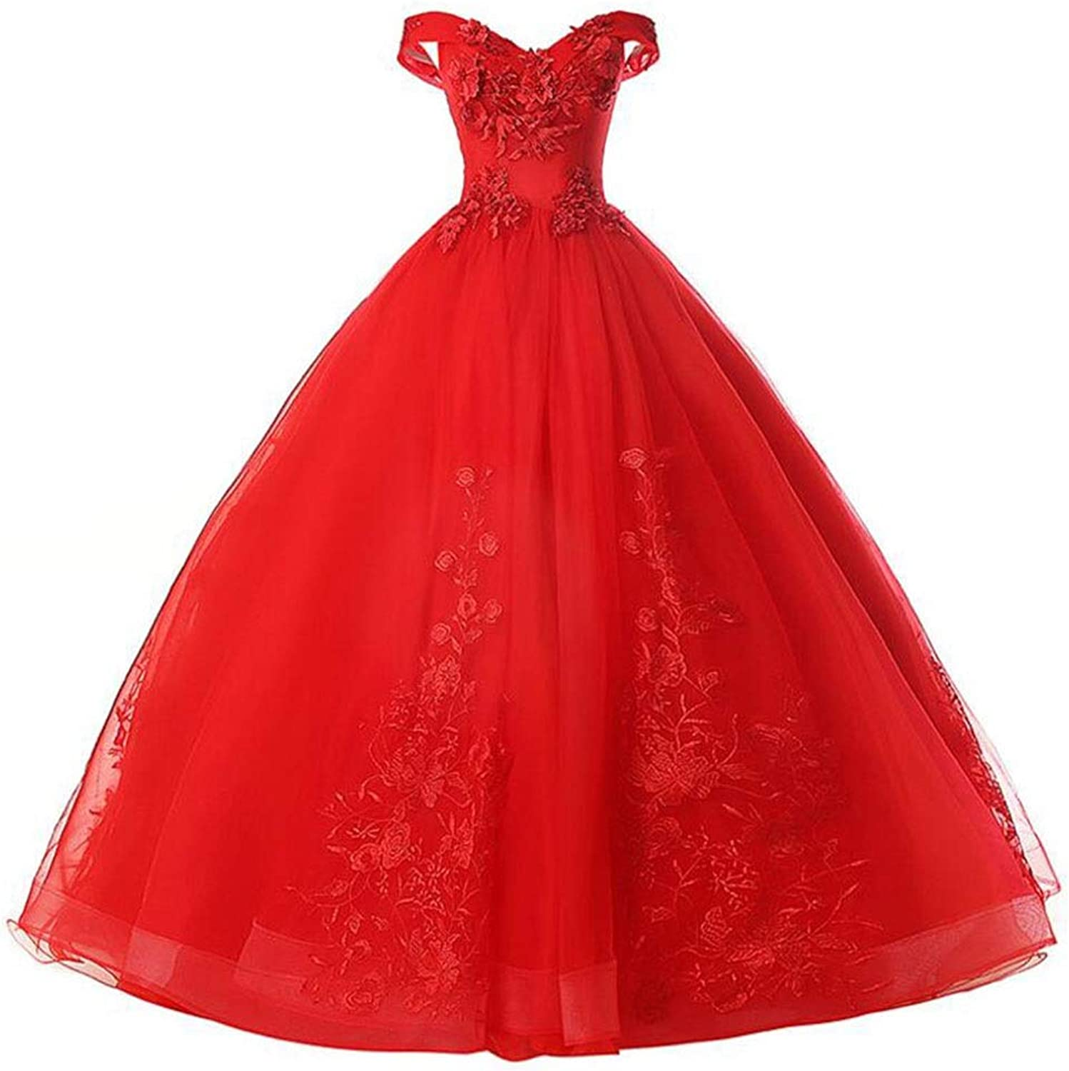 OneShoulder Wedding Bridal Gown Evening Dress Princess Dream Dress Tidy Out The Back of The Back Adjustable Wedding red (color   Red, Size   XXXL)