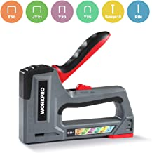 WORKPRO Heavy Duty Staple Gun, 6-in-1, Manual Brad Nailer Without Adjustment, Upholstery Staple Nail Gun for Fixing Material, Decoration, Carpentry, Furniture, Doors and Windows