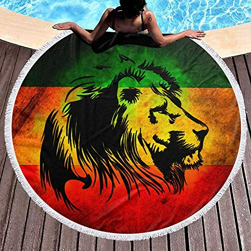 dingjiakemao Toalla De Tela Reggae Rasta Lion Gran Manta De Toallas De Baño De Playa Redonda con Borlas 150 Cm