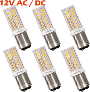 12V BA15D LED Bulb 1076 1142 S8 3W 300Lm 2700K Warm White,DC Bayonet Double Contact Base, AC10-18Volt & DC10-30 Volts, Interior RV Camper Marine Boat Trailer Lights-6 Pack
