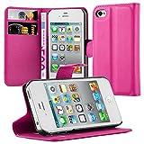 Cadorabo Funda Libro para Apple iPhone 4 / iPhone 4S en Rosa Cereza - Cubierta Proteccíon con Cierre Magnético, Tarjetero y Función de Suporte - Etui Case Cover Carcasa