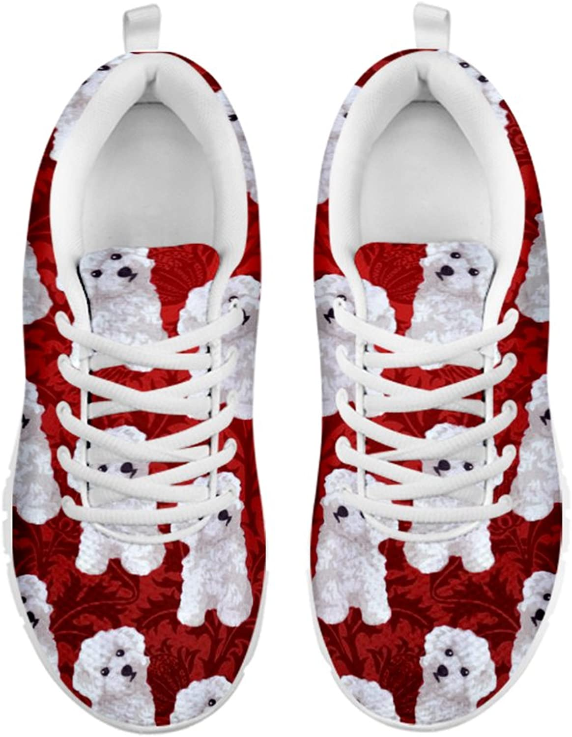 Women's Sneakers-Bichon Frise Pattern Print Sneakers for Women Running shoes White