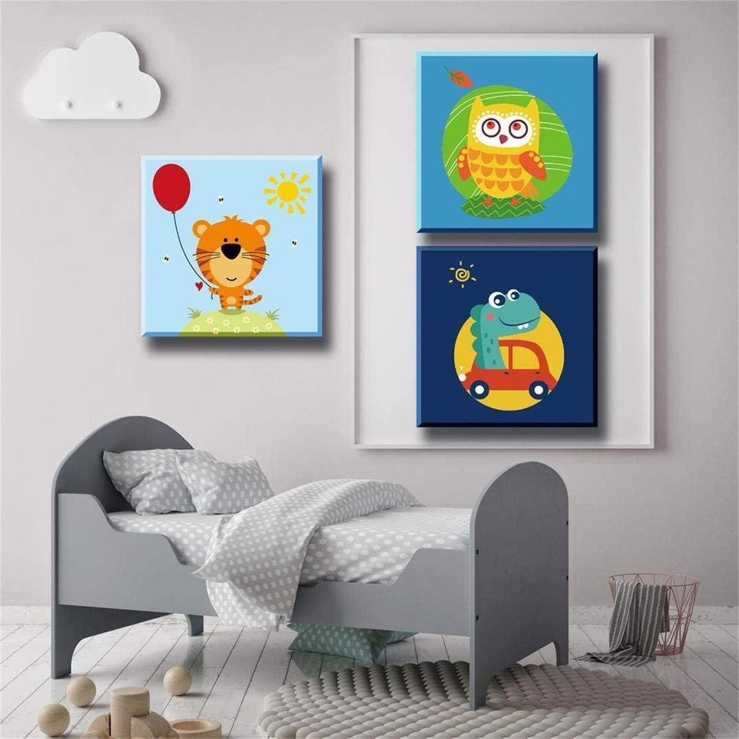 DIY Canvas Painting Gift Kits Goosky Paint by Numbers for Kids /& Beginner 3 Pack 8 x 8 inch Wooden Framed